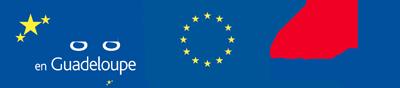 Logos Fonds européens FEDER Eau d'excellence Guadeloupe